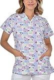 B-well Bambina - Casaca de Mujer de Manga Corta con Cuello en V, para Enfermeras, Dentistas, médicos, Estudiantes y Veterinarios Corazón Azul. L