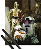 1art1 Star Wars Póster Mini (50x40 cm) El Despertar De La Fuerza Episodio VII, Droides BB-8, R2-D2, C-3-PO Y 1 Lote De 2 Varillas Negras