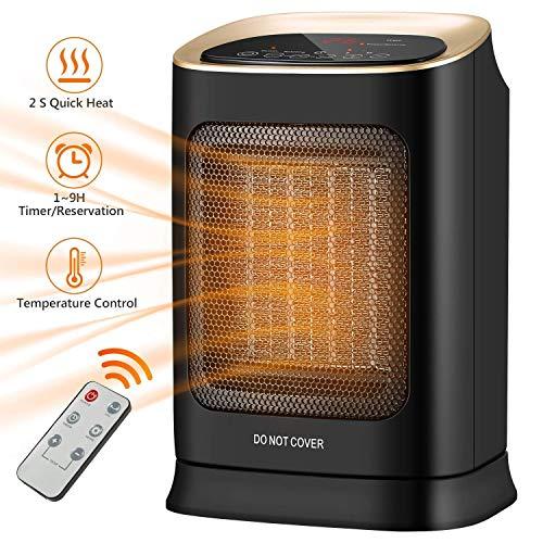 LEILEI Electric Heater,Portable Mini Ceramic Heater,Fast Heating,Personal Fan Electric Heater with Remote Control,Quiet Desk Fan for Home Office