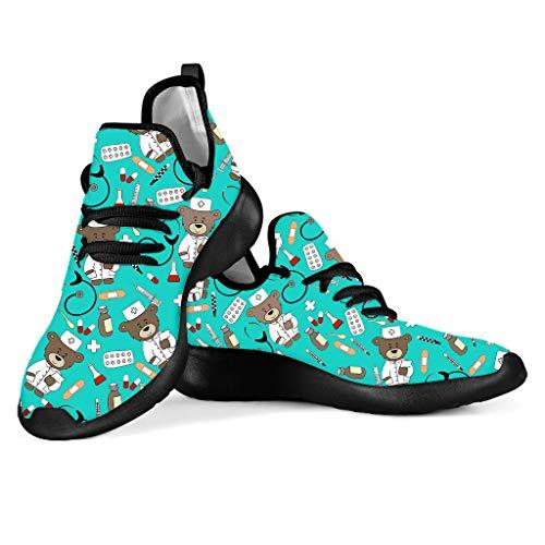 POLERO Nurse - Zapatillas de Mujer para Enfermera, Ligeras, para Correr, Caminar, Malla, Planas, para Tenis, para Mujer, Deportes, Apartamentos, 38 UE, Azul Claro
