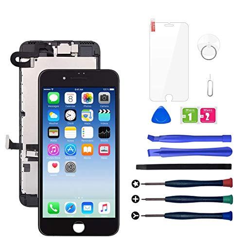 LWMTT Display Reparaturset für iPhone 7 Display Schwarz Ersatz LCD Touchscreen Digitizer mit Bildschirm Glas und Komplettes Kostenlose Profi-Werkzeugset mit Frontkamera,Lautsprecher