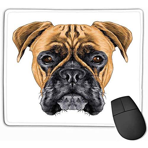 Familie Mauspad,Standardgröße Rechteck Rutschfeste Gummi Mousepad 30X25CM Kopf Hunderasse Boxer Hundehalsband c Skizze Grafiken Farbige Zeichnung Charmant