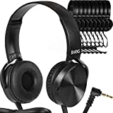 Bulk Classroom Headphones (10 Pack) - On-Ear Premium Student Headsets: Perfect for Kids K-12 in Classrooms, Schools & Class Sets (Great Value, Durable, Noise Reducing, Comfortable Fit, Easy to Clean)