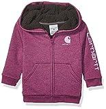 Carhartt Baby Girls Sherpa Lined Fleece Hoodie (Infant & Toddler), Plum Caspian Heather, 18M