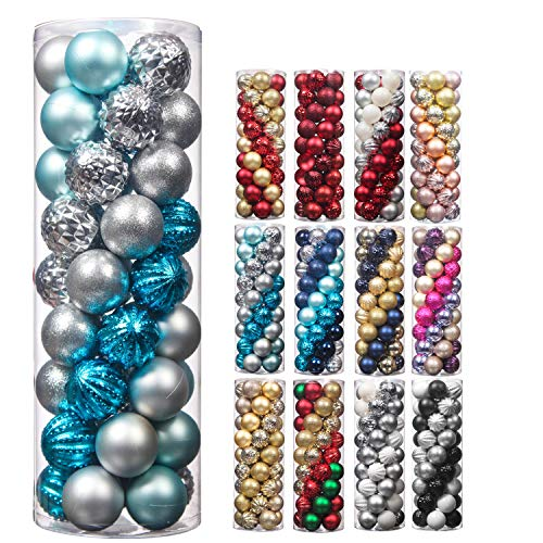 45Pcs 6cm/2.36inch Christmas Balls Glitter Christmas Tree Ornaments Hanging Christmas Home Decorations for Home House Bar Party(Blue/Silver)