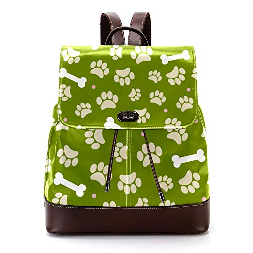 Casual PU Leather Backpack for Men, Women's Shoulder Bag Students Daypack for Travel Business College Animal Footprints