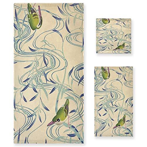 Arte De Pájaro Verde Juego de Toallas para Baño Playa 100% Algodón de Piscina Toalla (1 Toalla de Baño y 1 Toalla de Mano y 1 Paño de Lavado) para Nadar Hotel Niñas Niños Niños