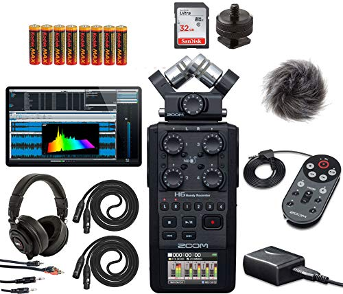 Zoom New H6 All Black Six-Track Portable Recorder with Zoom APH-6 Accessory Pack for H6, Headphones, 32GB SDHC Card, Batteries, Stereo Cables and XLR's