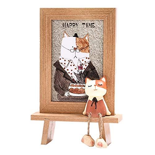 myLuisa Baby und Kinderzimmer Bilderrahmen Fotorahmen mit Kätzchen-Figur, stehend, für Foto-Größe 10 x 15 cm