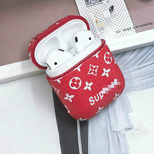Sup-Red - Funda de Piel para Auriculares AirPods inalámbricos con mosquetón para Carga de AirPods de Apple, Color Rojo