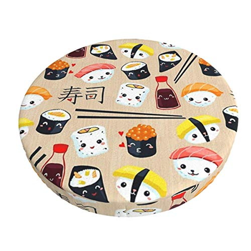 Round Bar Stools Cover,Kawaii Sushi,Stretch Chair Seat Bar Stool Cover Seat Cushion Slipcovers Chair Cushion Cover Round Lift Chair Stool