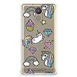 Wephone Accesorios Funda Dibujo Unicornio Cupcake WP004 para Bq Aquaris U Plus