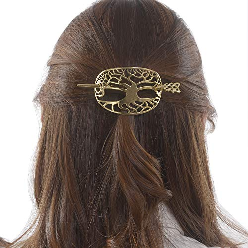 Viking Celtic Hair Clips Hairpin-Wiccan Hair Sticks Ladies Hair Accessories Clips for Long Hair Slide Pin Irish Hairstick Celtic Knot Viking Jewelry (LB-gold)