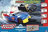 Micro Scalextric Justice League Batman vs Superman Battery Powered 1:64 DC Comics Superheros Slot Car Race Track Set G1151T, Black, Blue & Yellow