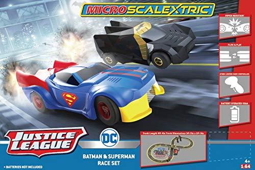 Micro Scalextric Justice League Batman vs Superman Battery Powered 1:64 DC Comics Superheros Slot Car Race Track Set G1151T, Black, Blue & Yellow