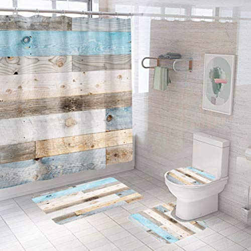 4-teiliges rustikales Brett-Duschvorhänge-Set, Teppiche, grau-blau, Badezimmer-Set, Vorhangzubehör, Scheunentür, Juego de Baños de Set, komplett mit 12 Haken