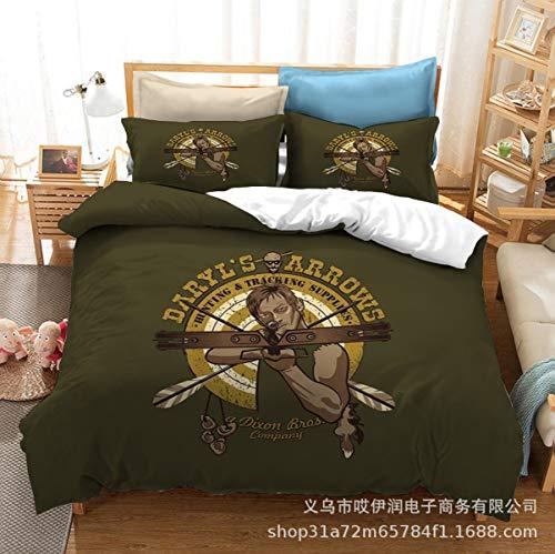 YOMOCO The Walking Dead Juego de ropa de cama The Walking Dead, edredón de microfibra ligera, suave y cómodo (Z01,220 x 240 cm + 50 x 75 cm x 2)