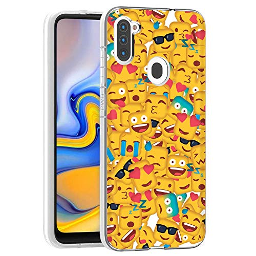 TalkingCase Clear TPU Phone Case for Samsung Galaxy A11, SM-A115M, Square Emojis Crowd, Light Weight, Ultra Flexible, Soft Touch, Anti-Scratch, Designed in USA