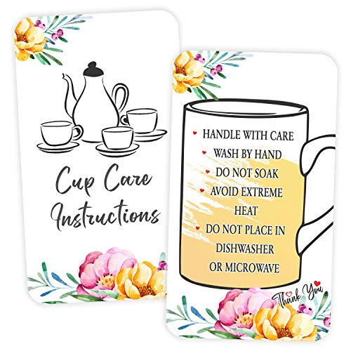 """Cup Mug Care Instruction Cards - (Pack of 100) 3.5"""" x 2"""" Package Insert for Tea Coffee Set Cleaning Customer Directions"""