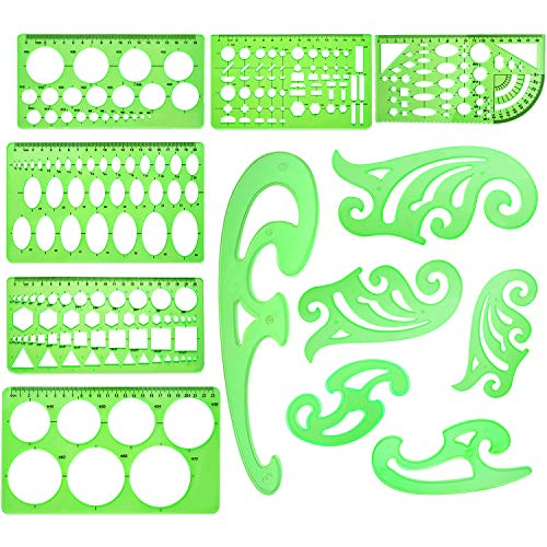 12 Pieces French Curve and Template Ruler Set Geometric Drawing Stencil Measuring Rulers French Curve Templates Green Plastic Painting Template Rulers for Drawing Studying Drafting