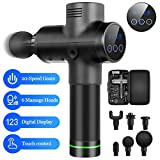 Portable Quiet Massage Device Helps Relieve Muscle Soreness,Massage Gun Handheld 20 Adjustable Speeds Deep Tissue Percussion Body Massager with 6 Massage Heads and Carrying Case (LCD+6Heads-Black)