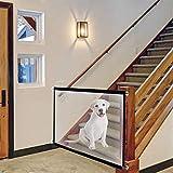 Hotsel Puerta de escalera para perros, portón de seguridad portátil con cremallera, puerta mágica para mascotas, fácil de instalar en escaleras al aire libre, interior o puerta, 18072 cm