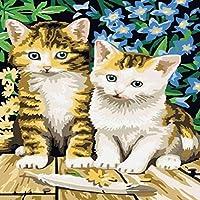初心者のための刻印されたクロスステッチキット-猫の羽の花-11CT事前に印刷されたパターン刻印されたクロスステッチの刺繡キット生地針先工芸品針仕事ギフト-16x20インチ