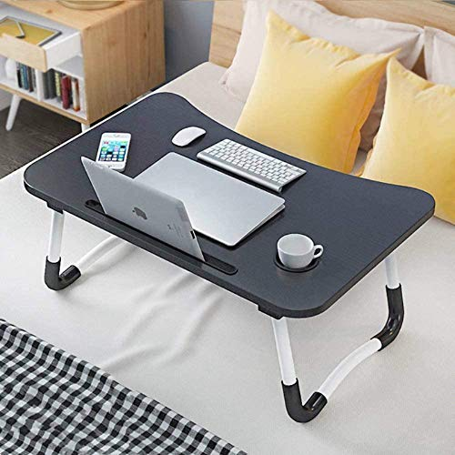 Foldable Laptop Desk, Dormitory Small Desk, Breakfast Bed Tray Table, Lap Desk for Bed, Portable Standing Desk, Bed Desk with Cup Holder & Slot, Notebook Stand Reading Holder for Sofa Couch Floor
