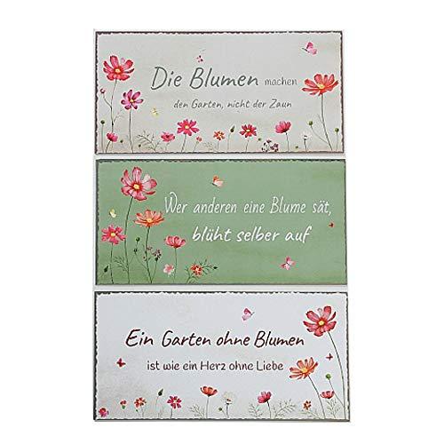 Metall Schilder Garten Cosmea mit Sprüchen 3er Set Sortiert 40x20cm zum Hängen