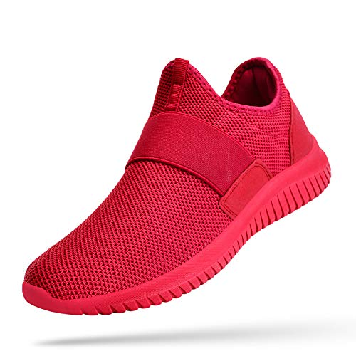 Troadlop Women Red Sneakers Slip on Red Tennis Shoes Laceless Casual Workout Shoes for Women Mesh Breathable Air Cushion Running Shoes Size 9.5 M US