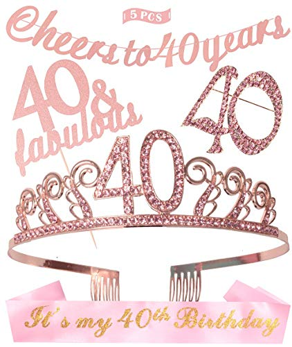 40th Birthday Decorations Women, 40th Birthday Tiara/Crown, 40th Birthday Sash, Pink Glittery Cheers to 40 Years Banner, 40 and Fabulous Cake Topper, 40th Birthday Party Supplies (Pink)