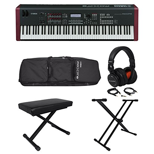 Yamaha MOXF8 88 Key Keyboard+Headphones+Padded Bench+Stand+Padded Bag w/Wheels