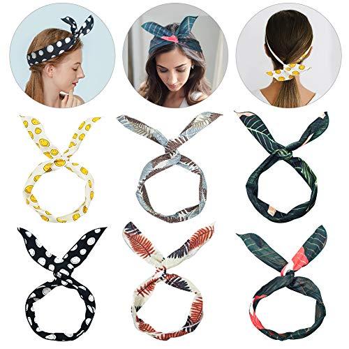 Augoog 6 Stück Biegbares Haarband,Bunny Ohr binden Bow Stirnband Twist Bow Wired Stirnbänder aus Baumwolle für Damen Niedlich Haarschmuck