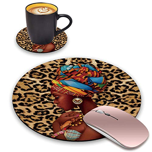 BWOOLL Round Mouse Pad and Coasters Set, Leopard Print Mouse Pad, African Women Mouse Pad, Non-Slip Rubber Base Mouse Pads for Laptop and Computer