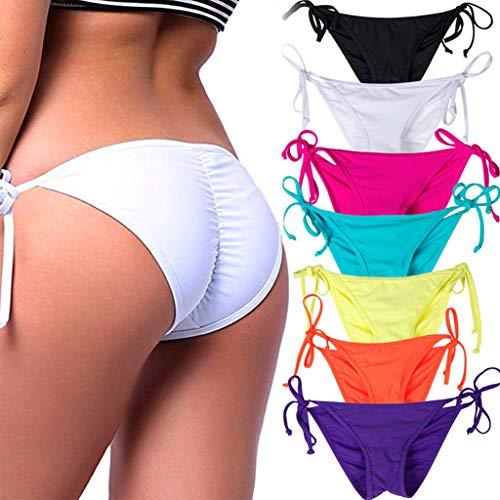 STARBILD Women's Sexy Brazilian Bikini Bottom with Tie-Side Cheeky V Cut Thong Swimsuit S White