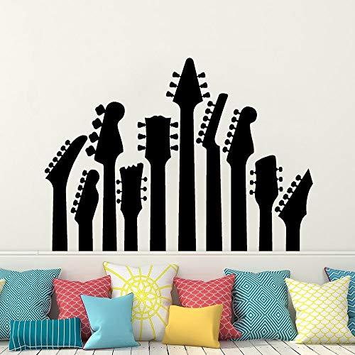 Instrumento de cuerda Cabeza Cuellos de guitarra violín Violonchelo Bajo Serie de música Calcomanía Rock Metal Vinilo Arte Etiqueta de la pared Sala de estar Dormitorio Estudio Decoración para el