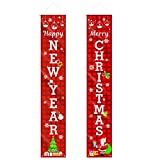 CestMall Merry Christmas Banner Welcome Christmas Porch Banners Red Porch Sign Hanging Xmas Decorations for Home Wall Front Door Indoor Outdoor Christmas Banner Decoration