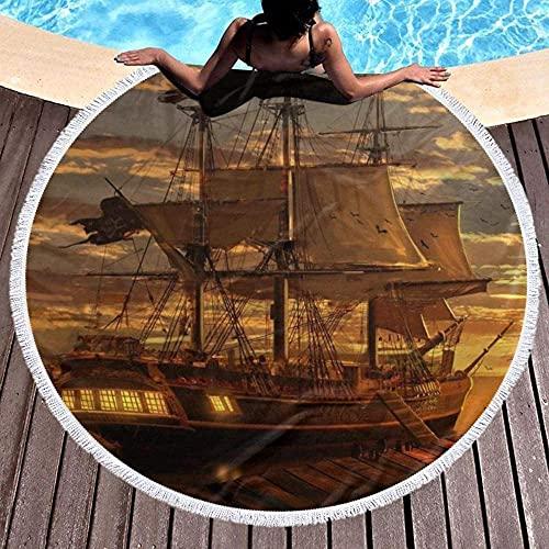 Toalla de Playa Dream Pirate Ship Toalla de Playa Redonda con Borla Estera de Yoga Alfombra de Microfibra Mantón Protector Solar Toalla de baño Suave y de Secado rápido para Damas(150CM)