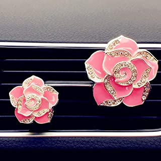 2 Pack Camellia Flowers Car Accessories Cute Car Air Freshener Bling Diamond Air Vent Clips Automotive Interior Trim Car Decorations Gift (Pink)