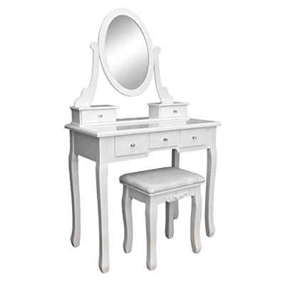 Tenozek 360° Rotation Single Mirror 5 Drawers ...