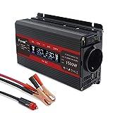 Cantonape 750W Pico 1500W Inversor de Corriente Portatil DC 12V a AC 220V con pantalla LCD Monitor, 2USB, EU sockets para Coche, Caravana, Barco, cámping