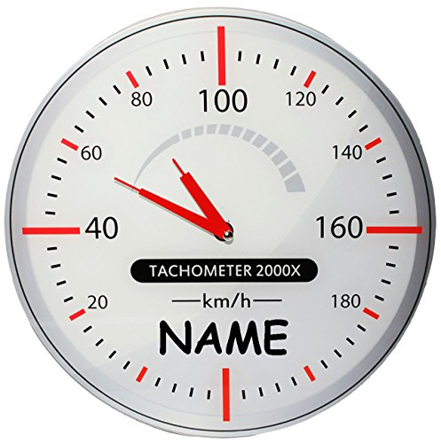 alles-meine.de GmbH Wanduhr - Uhr aus Glas -  Tacho / Tachometer  - incl. Name - 30,5 cm groß - sehr leise ! - Werkstattuhr - für Kinderzimmer & Wohnzimmer - Autouhr - Auto - F..