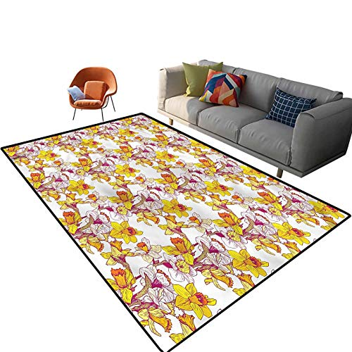 Indoor Room Daffodil Area Rugs,6'x 9',Flowers Spring Romance Floor Rectangle Rug with Non Slip Backing for Entryway Living Room Bedroom Kids Nursery Sofa Home Decor