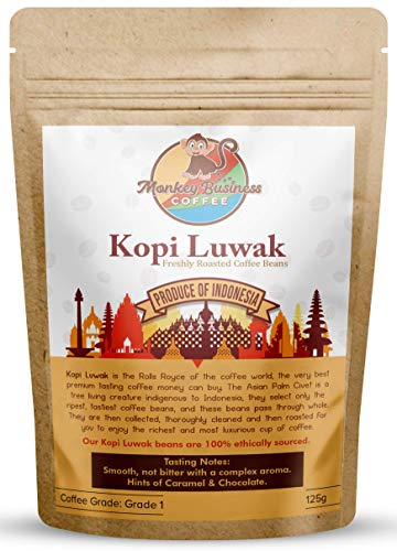 Monkey Business Coffee - Wild Kopi Luwak Coffee Ground Beans - Ethically Sourced - 125 Grams (4.4oz) Other Weights & Bean Types Available) - Produce of Indonesia