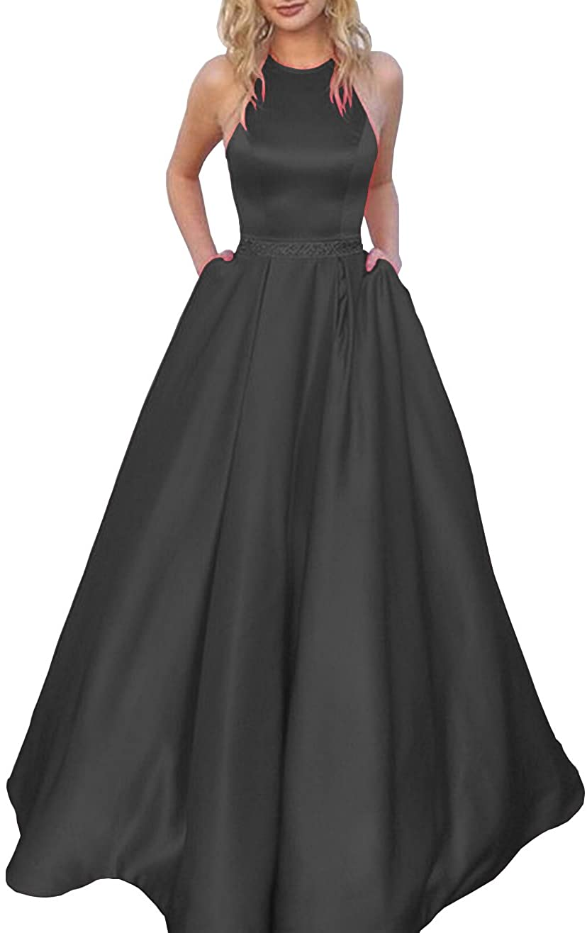 Women's Halter A-line Beaded Satin Year-end annual Popular popular account Dress Forma Long Evening Prom