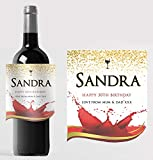 Personalised Red Wine Bottle Label Custom - Any Wording