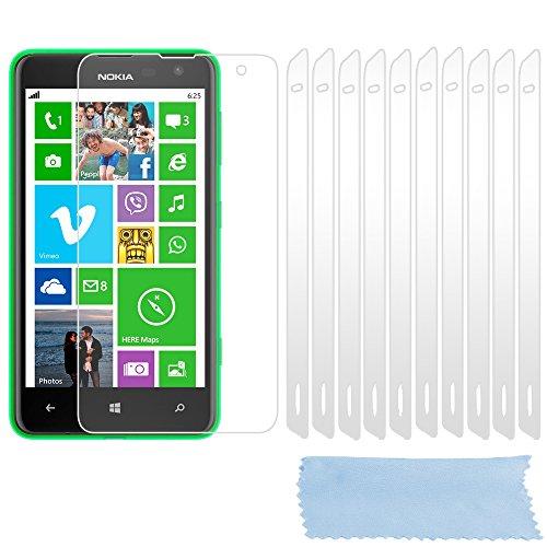 Cadorabo Bildschirmschutzfolien für Nokia Lumia 625 - Schutzfolien in HIGH Clear – 10 Stück hochdurchsichtiger Schutzfolien gegen Staub, Dreck & Kratzer