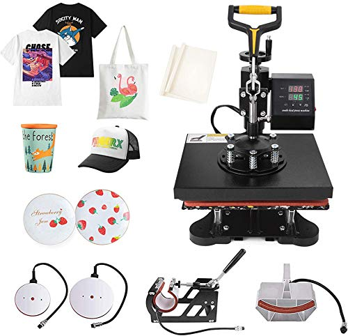 Slendor Heat Press 12x10 Inch 5 in 1 T Shirt Printing Machine 360-Degree Swing Away Digital Heat Transfer Multifunction Sublimation Combo for T Shirts Mugs Hat Plate Cap