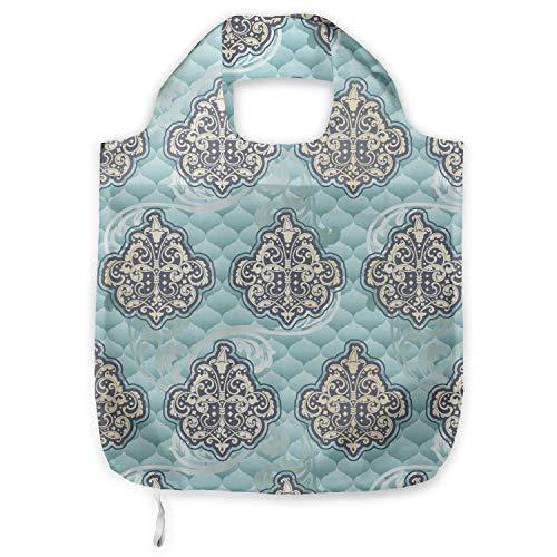 ABAKUHAUS Victoriaans Herbruikbare Stoffen Boodschappentas, Rococo tijd perk ontwerpen, Bedrukt, Praktisch en Eenvoudig, Pale Blue Ivory
