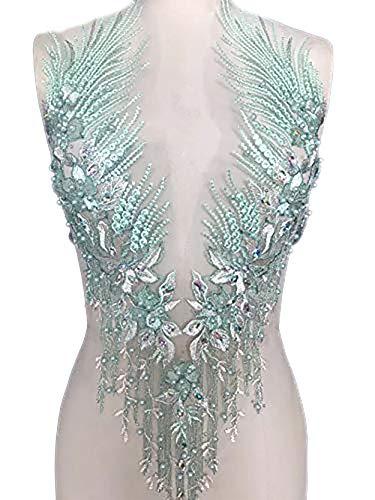 Spitzenapplikation 3D mit Perlen bestickt, Blumen, Strass, Besatz-Patches, ideal für Handarbeiten, Ausschnitt, Mieder, Hochzeit, Braut und Ballkleid - A2AB A mint